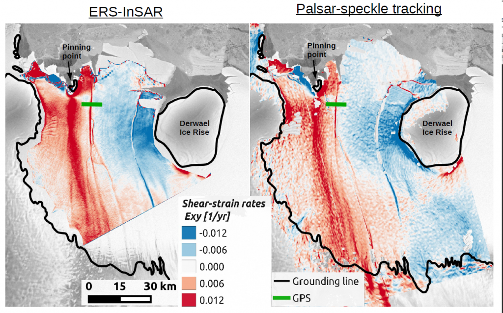Horizontal shear strain rates as seen by ERS (left) and Alos-PalSAR (right). Image: S. Berger